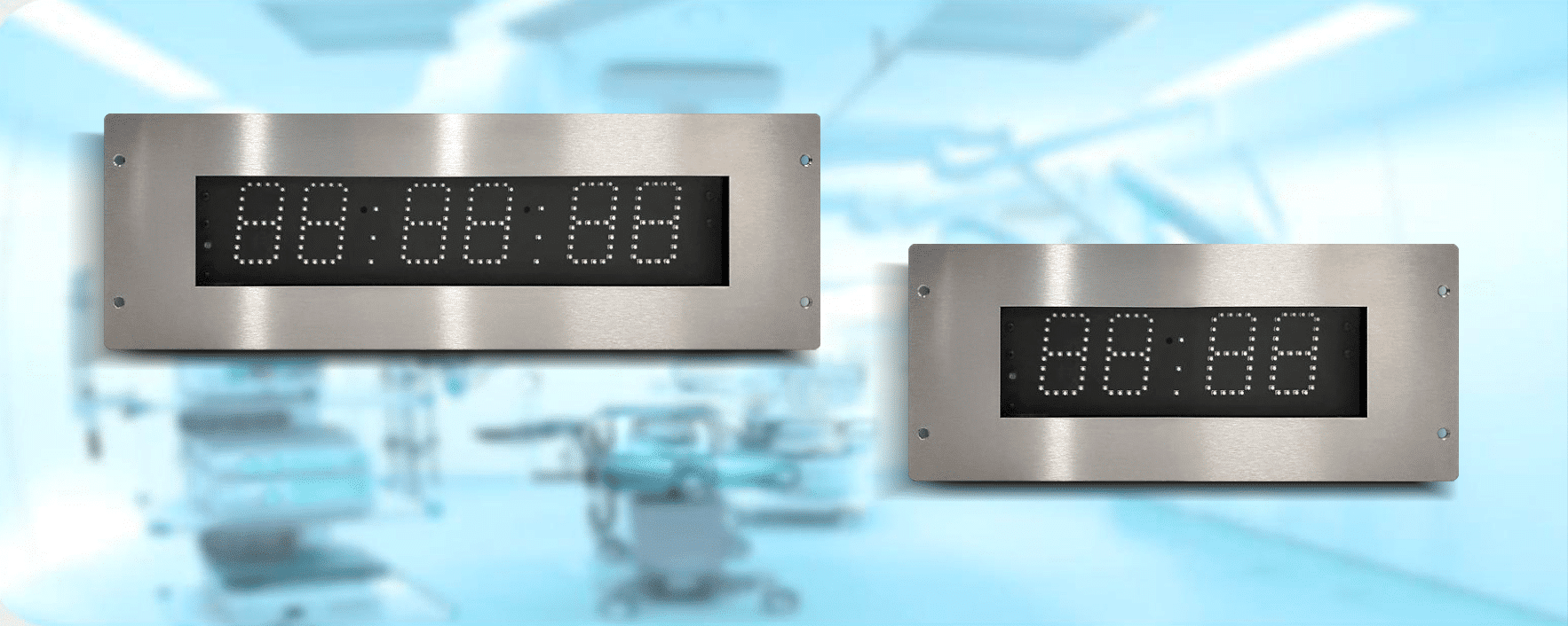 Flush Mount Clocks ZAM5-L PoE & ZBM5-L PoE for operating theatres, laboratories and other clean room environments
